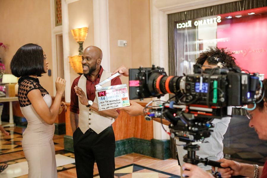 A behind-the-scenes shot in Dubai with Somkele Idhalama and Ikechukwu Onunaku